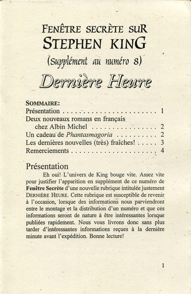 Fenetre Secrete Sur Stephen King Xx Derniere Heure