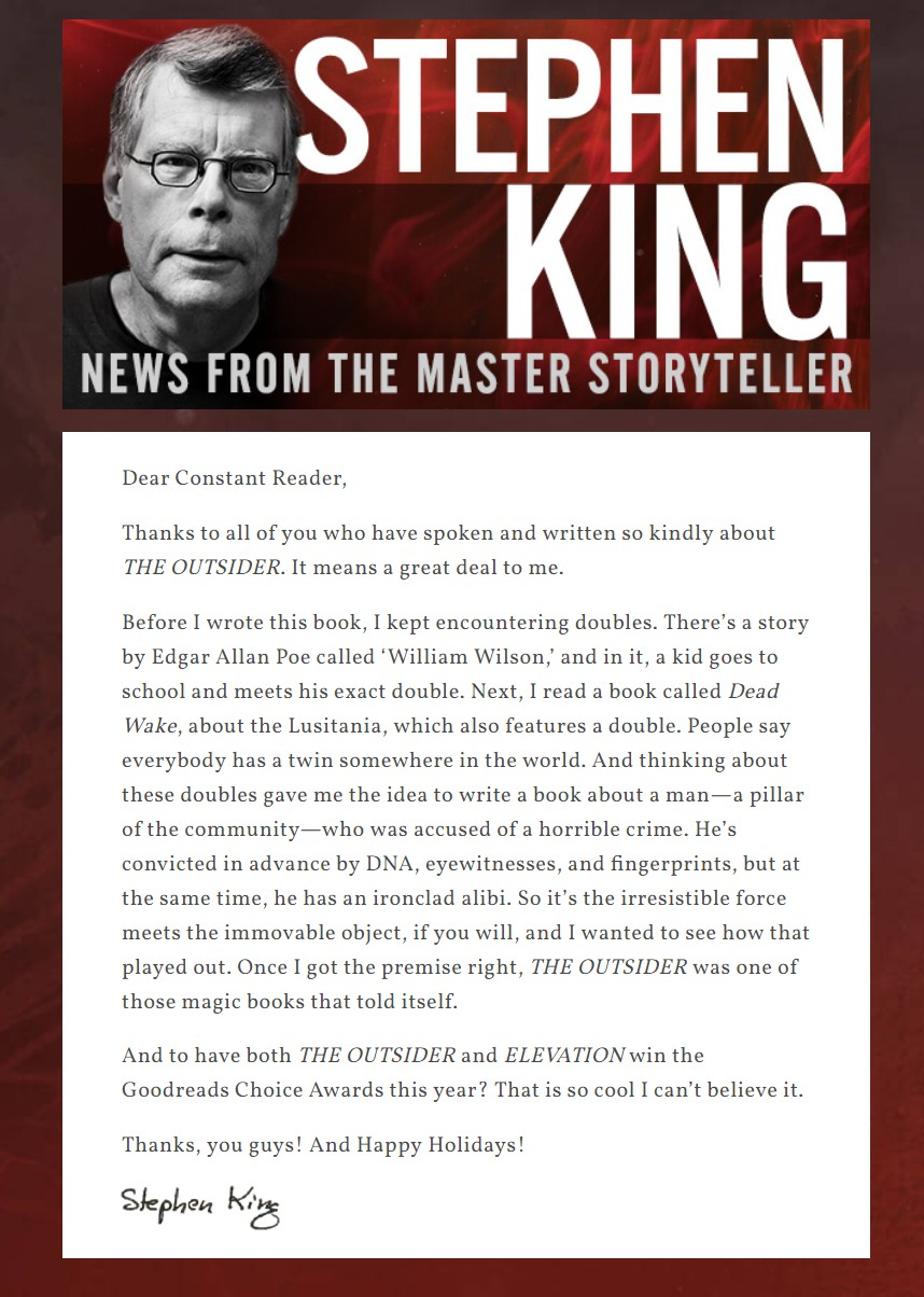 Newsletter Stephenking A Message From Stephenking