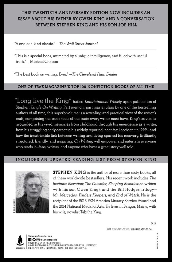 Onwriting Stephenking Edition Anniversaire 20ans Scribner2020