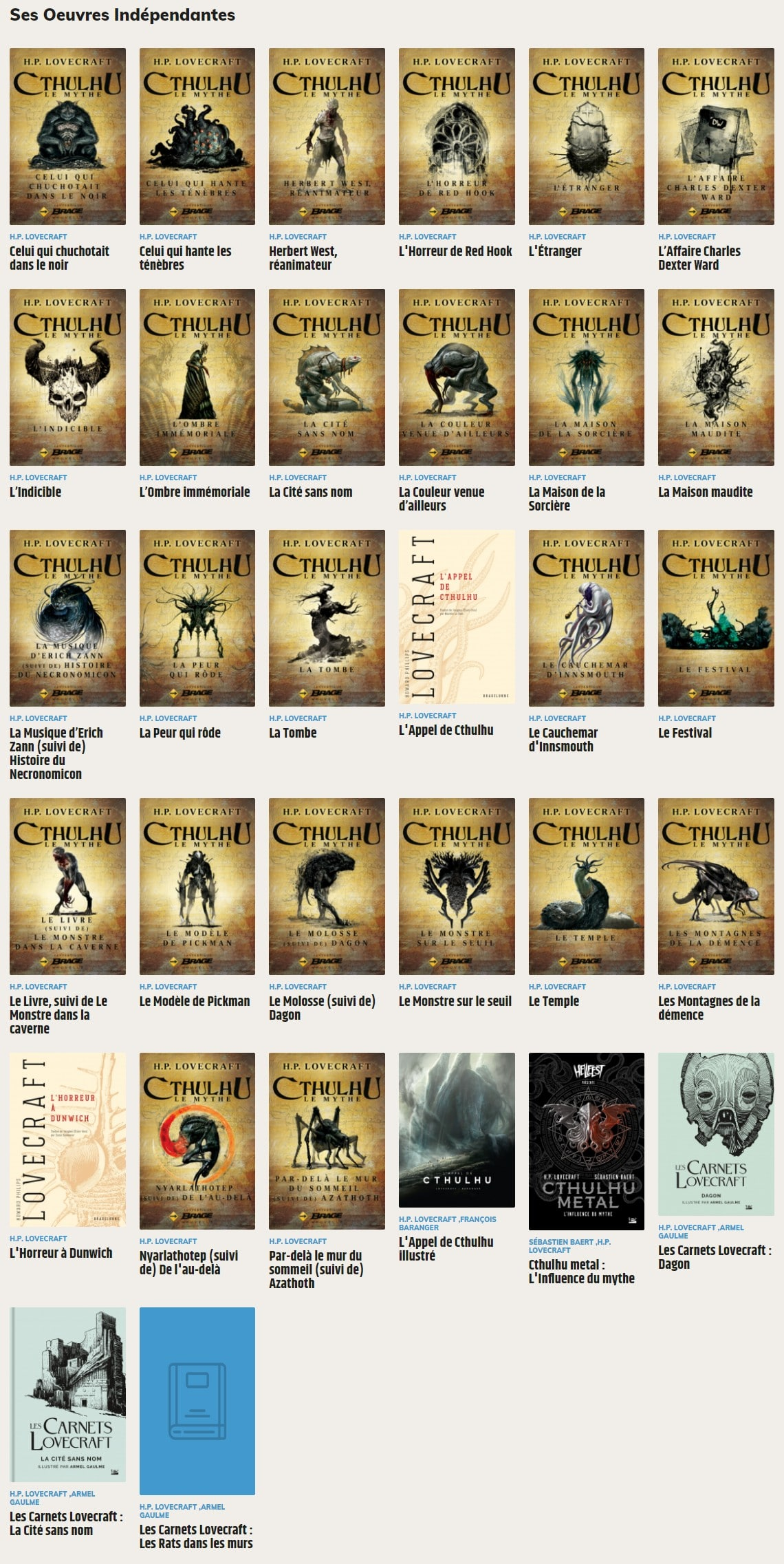 Lovecraft Bragelonne Livres De Lovecraft 2