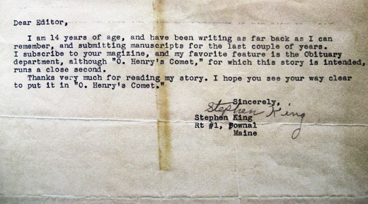[stephen king 14 yrs old submission letter]