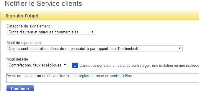 ebay, signaler une contrefacon