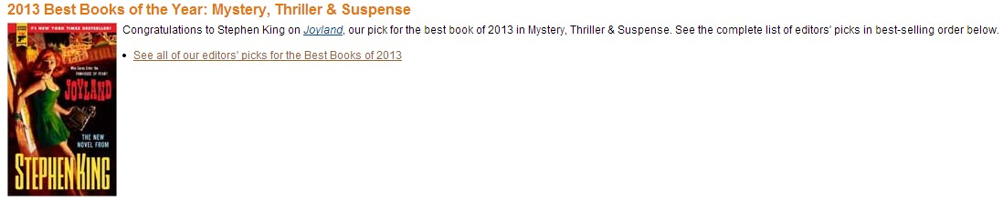 [joyland amazon best book 2013]