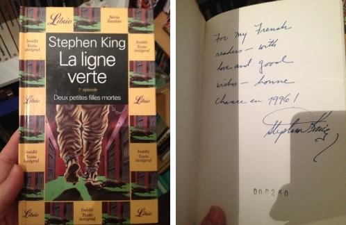 [la ligne verte 1, édition française limitée et dédicacée par Stephen King, librio, 1996]